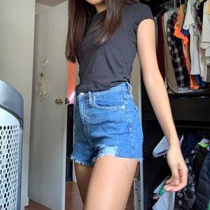 blue distressed jean shorts